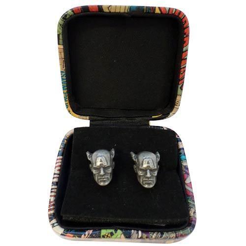 WEDDING MARVEL COMICS CAPTAIN AMERICA CUFFLINKS BRAND NEW IN GIFT BOX STEEL