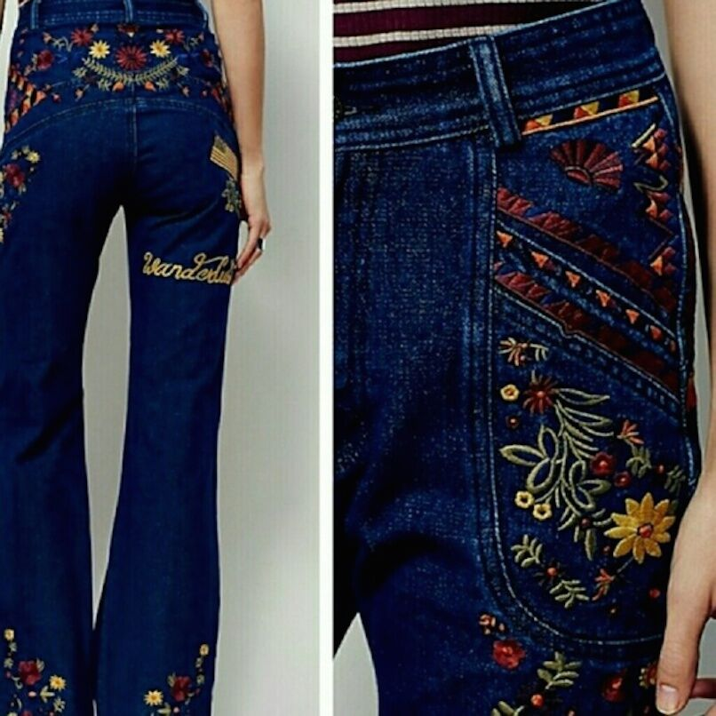 Free People X Spell & The Gypsy Wanderlust Embroidered Flare Jeans XS S & M NEW