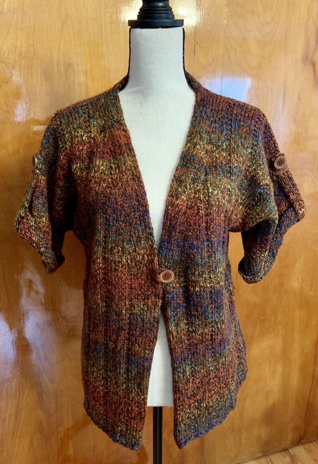 NWOT Handknit Woman's Wool Blend Cardigan Vest Size M L
