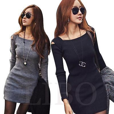 Women Dress Sexy MIni Long Sleeve Slim Fit Off Shoulder Sweater Knitwear Bodycon