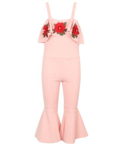Filles//Enfants Rose Combinaison//Play-costume Floral Patterned Détail