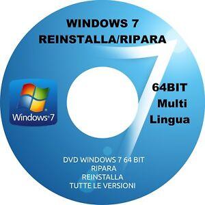 WINDOWS 7 DVD REINSTALLA, RIPARA WINDOWS 7 64bit TUTTE LE VERSIONI DVD WINDOWS 7 - Italia - WINDOWS 7 DVD REINSTALLA, RIPARA WINDOWS 7 64bit TUTTE LE VERSIONI DVD WINDOWS 7 - Italia