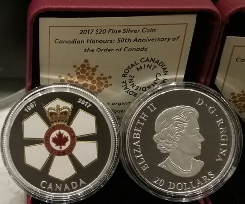 Order of Canada $20 1OZ Pure Silver Coin 1967-2017 Canadian Honours 50th Anniv