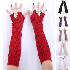d84cf78b2 Womens leaves lace button knit wool warm fingerless half finger long ...