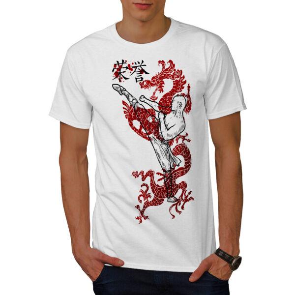 Costante Wellcoda Ninja Guerriero Dragone Da Uomo T-shirt, Kung Fu Design Grafico Stampato T-shirt