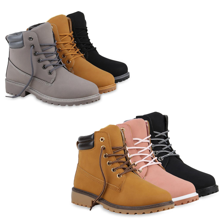 Damen Worker Boots Profil Sohle Stiefeletten Kunstleder Outdoor 812444 Schuhe