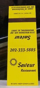 Rare-Vintage-Matchbook-Cover-T2-Washington-DC-Saveur-Restaurant-Sun-Wisconsin-Av