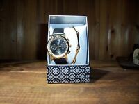 Womens Gold Colored Wristwatch With Matching Bracelet Set Ladies Jewelry