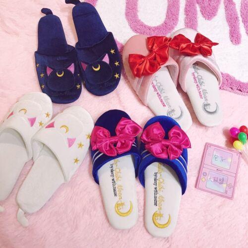 Japan Anime Sailor Moon Luna Artemis Women Indoor Flats Slipper Bowknot Kitty