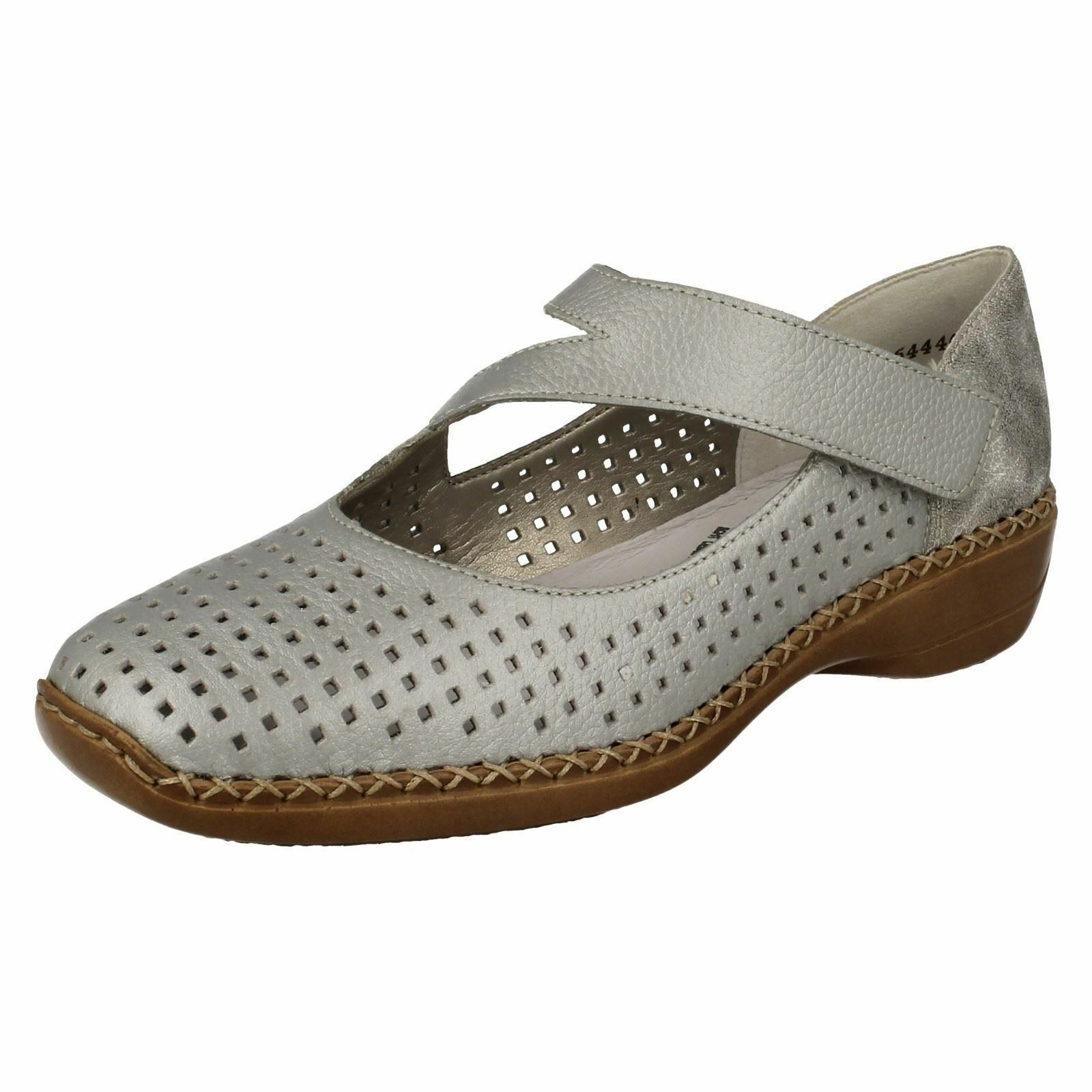 Donna Rieker 41345 argentoo Platino di pelle, Casual Mary Jane Sautope