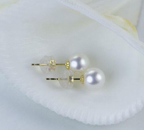 LilyTreacy Japanese Akoya Pearl Ear Studs Earrings 18K Solid Gold 7-7.5 5.5-6mm