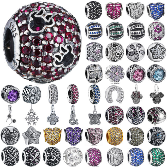 Fashion european silver pave charms bead for bracelet chain AU-01