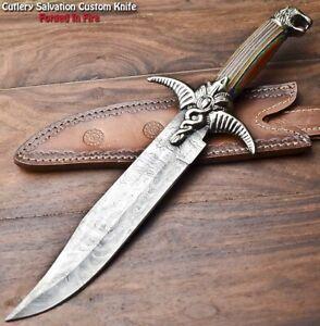 Handmade Damascus Steel Blade Bowie Hunting Knife | HARD WOOD