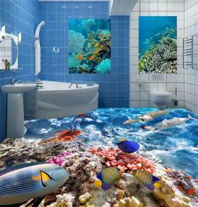 3D Big Small Fishs 42 Floor WallPaper Murals Wall Print 5D AJ WALLPAPER UK Lemon