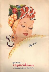 Vintage JULES PODELL'S COPACABANA Menu NYC New York 1960'S