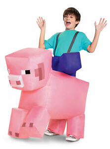 Inflatable Minecraft Pig Ride On CHILD Costume NEW One Size Fits Most