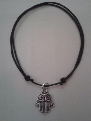 Hand of Hamsa//Fatima//Protection,Good Luck Charm,Black Bracelet