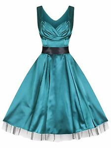New-Glamorous-1950s-Sweetheart-Green-Silky-Party-Prom-Cocktail-Dress-8-to-18