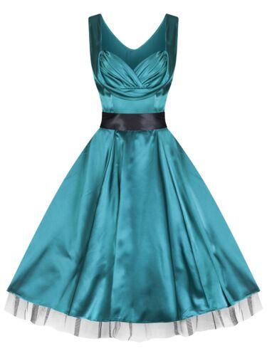 Nouveau Glamour Années 1950 Sweetheart Vert Soyeux Parti Prom robe de cocktail