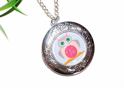 AUSWAHL Medaillon Eulen Uhu Owl Foto Anhänger Halskette Kette silber öffnen