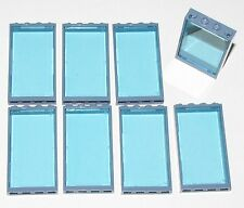 LEGO LOT OF 8 NEW 1 X 4 X 6 SAND BLUE WINDOW FRAMES AND TRANS-LIGHT BLUE GLASS