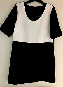Womens-John-Lewis-Dress-Pied-A-Terre-Tee-Dress-Ladies-Black-White-Dress-Size-16