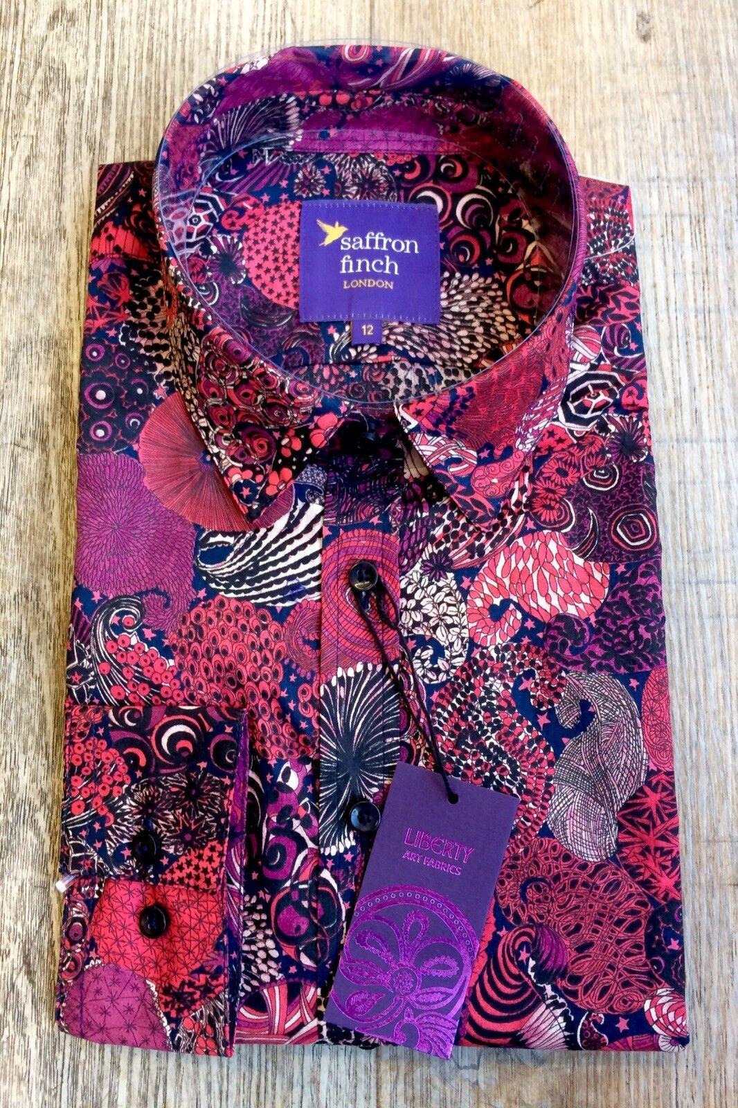 New damen Liberty Print LIMITED EDITION rot Fosil Print Shirt By Saffron Finch.