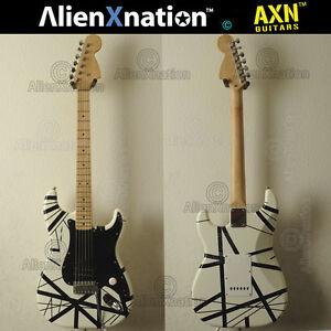 1995-ESP-Factory-Original-Black-and-White-Striped-Guitar-AlienXnation-Vintage