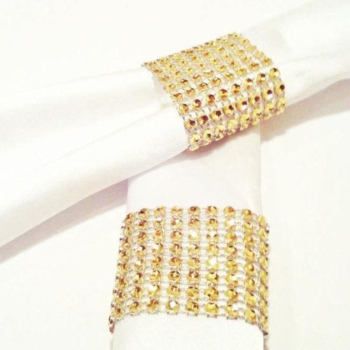 100/200 Diamond Mesh Wrap Velcro 8 Rows 12cm Gold Wedding Chair Sash Napkin Ring