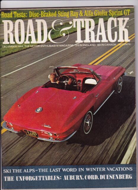 Road & Track Motor Enthusiasts' Magazine December Dec 1964 See My Store