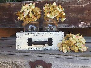 Wood Drawer with 2 Mason Canning Jars Centerpiece HANDMADE Rustic Decor White