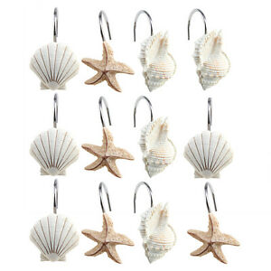 12 PCS Fashion Decorative Home Bathroom Seashell Shower Curtain Hooks