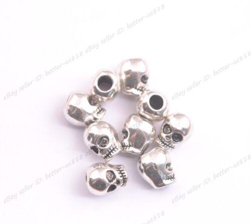 Wholesale 10Pcs Tibetan Silver skull Charms Pendants Jewelry 12x9MM A749