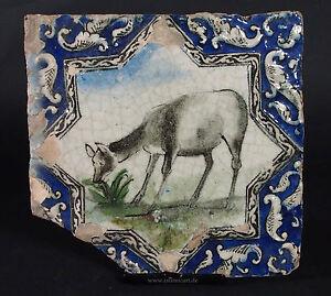 Antik-islamische-Qajar-Sternformige-Relief-Keramik-Fliese-Kachel-islamic-Tile-H