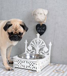 Metallobjekte MüHsam Vintage Fressnapf Shabby Chic Hundenapf Gusseisen Weiss Napf Landhausstil Ein BrüLlender Handel