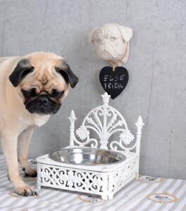 ZuverläSsig Fressnapf Gusseisen Futternapf Dackelfigur Doppelnapf Hundenapf Weiss Wassernapf Antiquitäten & Kunst