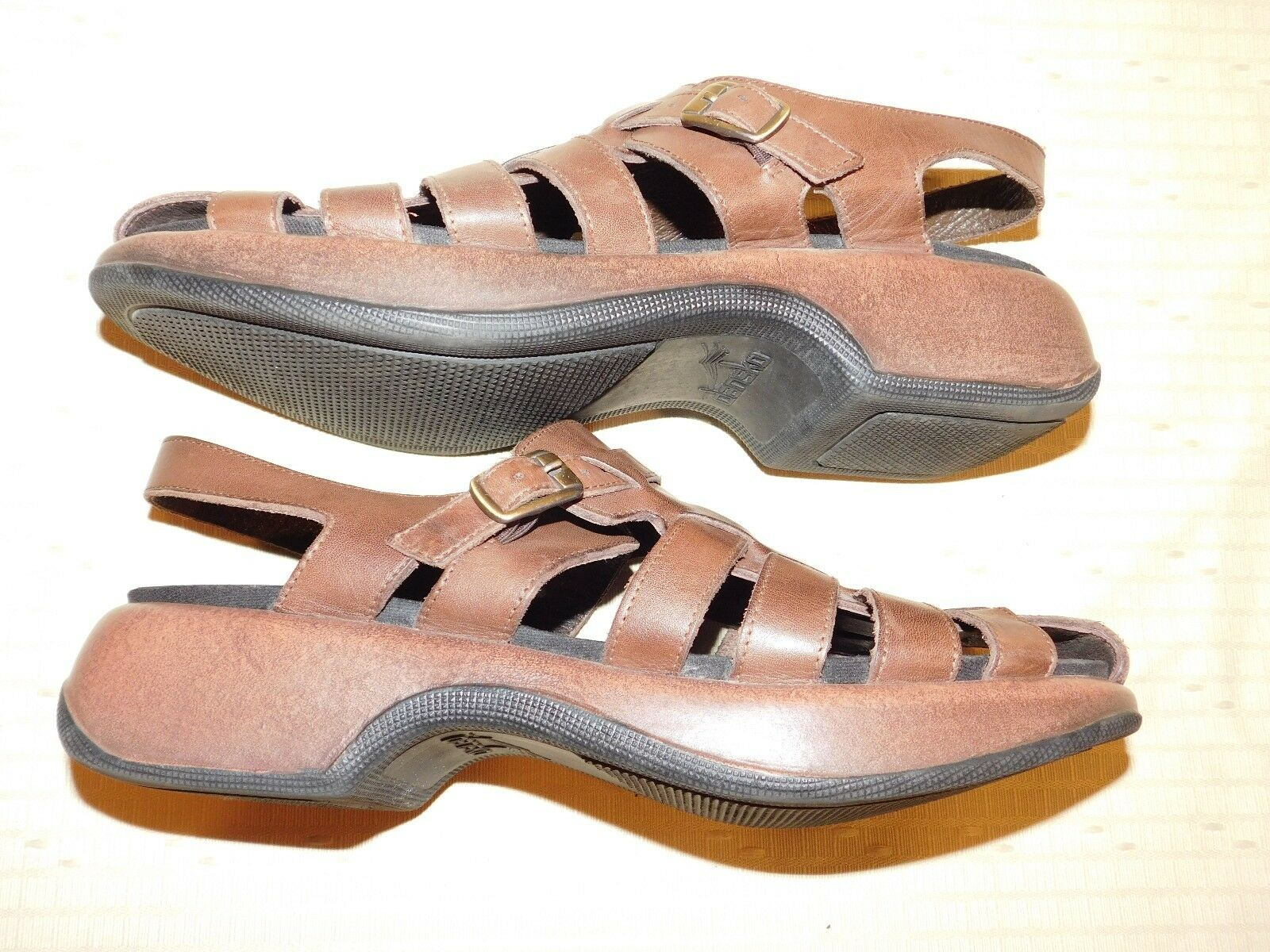 DANSKO 42 BROWN LEATHER FISHERMAN SANDALS WOMEN US IN SIZE 11.5 M MADE IN US PORTUGAL 7a3f71