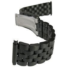 18mm 20mm 22mm Hadley-Roma MB5188 Matte PVD Black Metal Mens Watch Band Bracelet