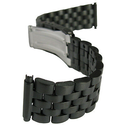 18mm 20mm 22mm Hadley-Roma MB5188 Matte PVD Black Metal Mens Watch Band Bracelet