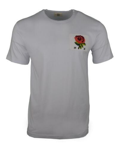 BNWT KENT /& CURWEN T-SHIRT WHITE EMBROIDERED 1926 RED ROSE PATCH DAVID BECKHAM