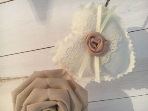 Fabric Shabby Chic Hearts /& Rose Wedding  Bunting Cream Beige Vintage Lace