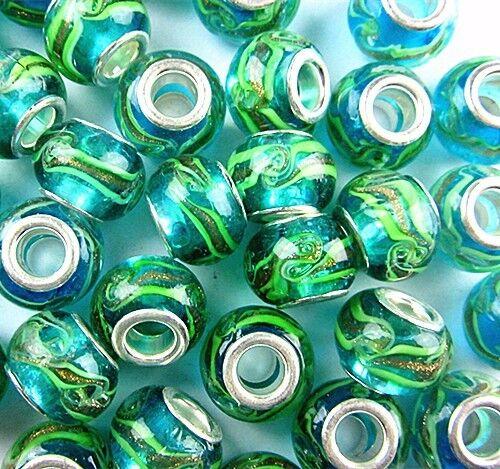 3 30PCS Beautiful unique blue green lampwork glass big hole bead Vk2695