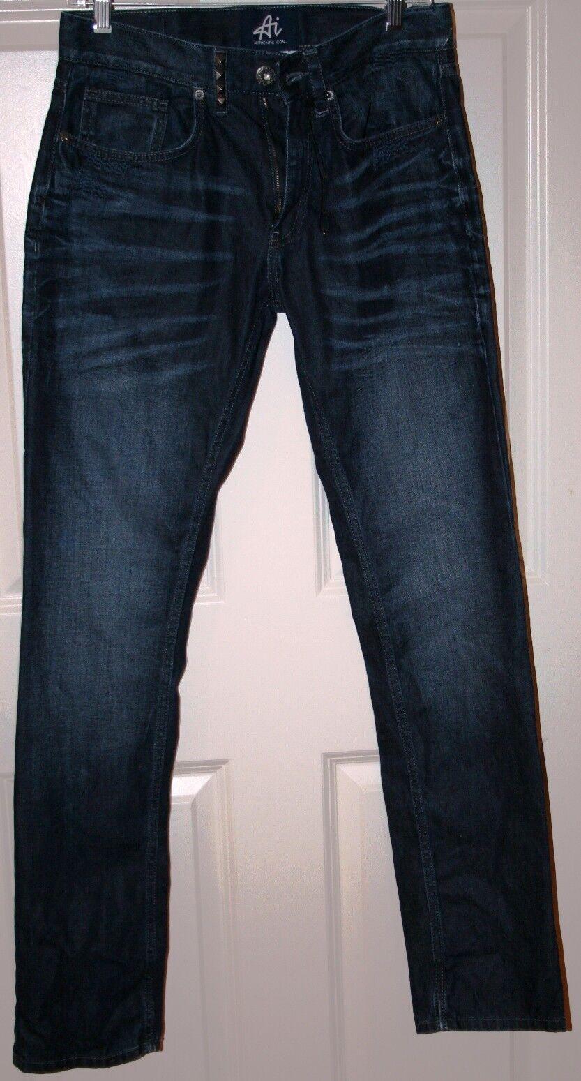 NWoT Authentic Icon Men's Slim Straight Jeans in Dark Resin Wash 30 32