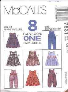 7831-UNCUT-McCalls-SEWING-Pattern-Toddler-Girls-Jumper-Jumpsuit-OOP-Easy-8-Looks