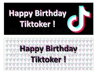 Digital Ready To Print Happy Birthday Tik Tok Toppers Cards Party Tiktokers Ebay
