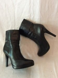 Gianni Bini Black Ankle Leather Boots Size 3.5 | eBay