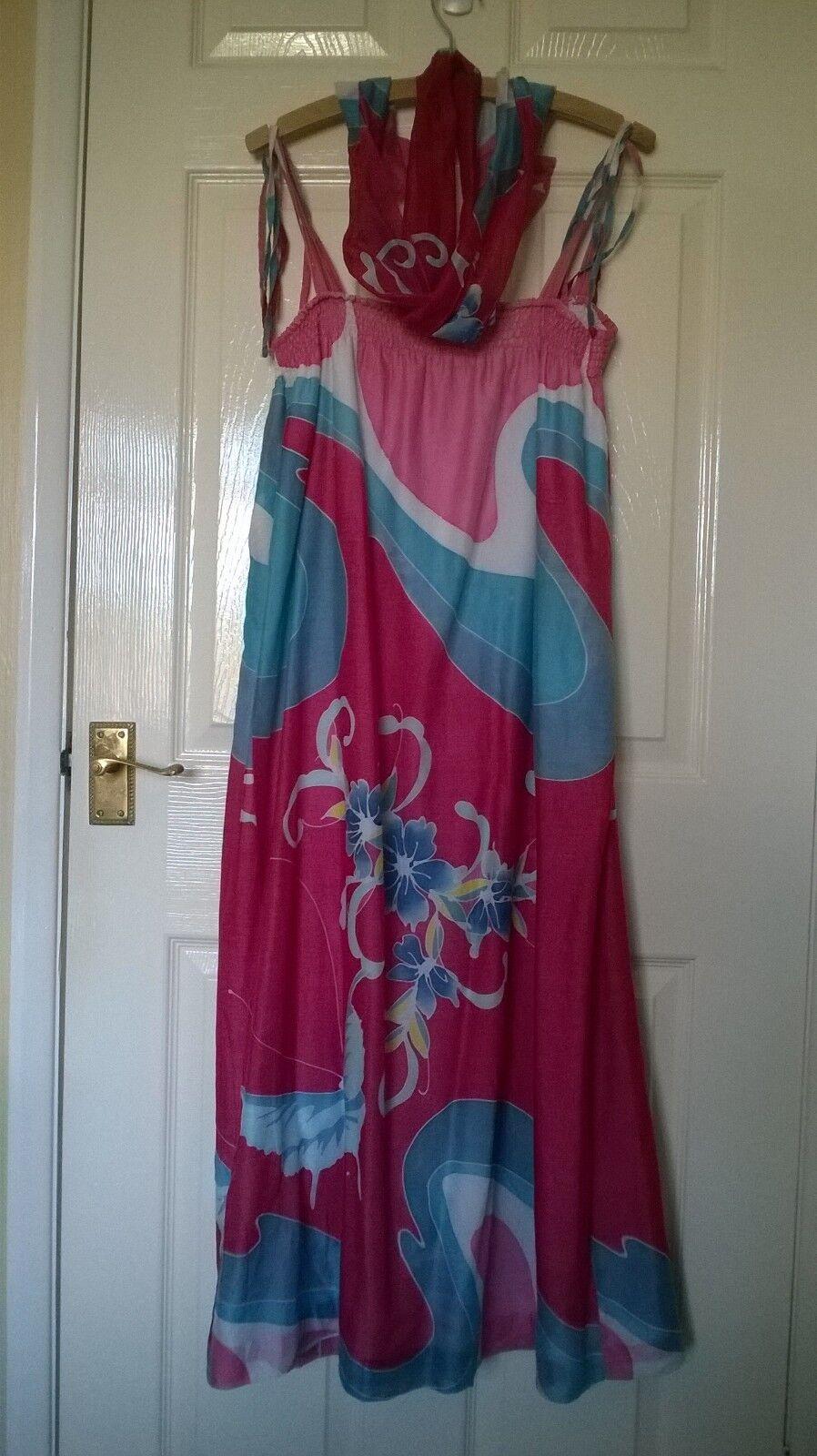 Flair Ladies pink and bluee floral summer beach dress plus tie-belt scarf