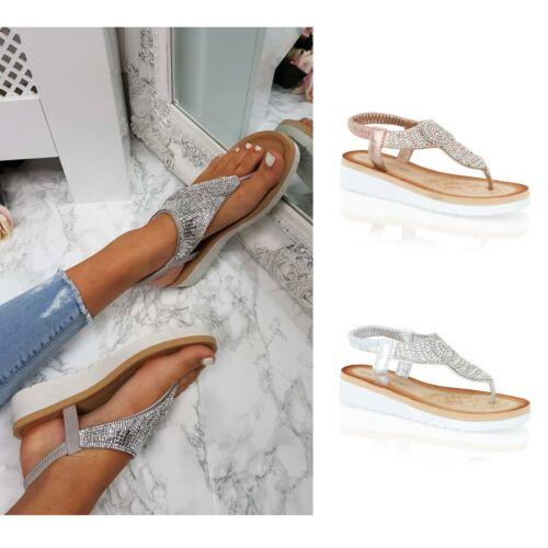 Damen Diamant-Zehensteg Sommer Plateau Keilabsatz Sandalen Holiday Size 3-8