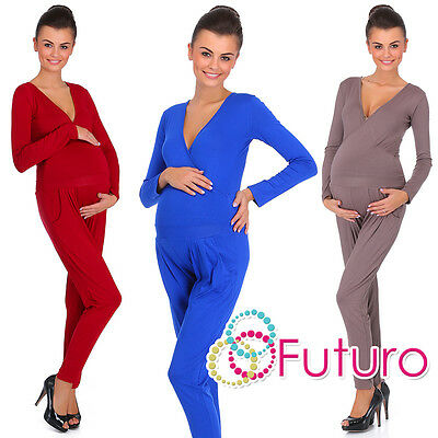 Ladies Maternity Wrap Jumpsuit With Pockets V Neck Playsuit Sizes 8-18 Fm16 NüTzlich FüR äTherisches Medulla