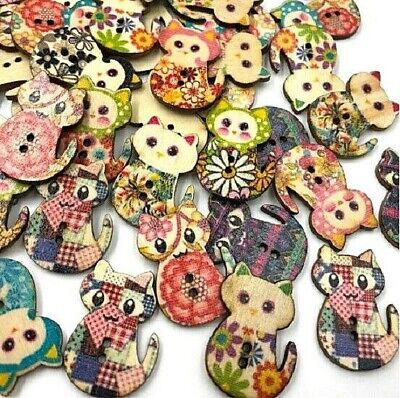 Wooden Buttons Patchwork theme 30mm  2 holes flat  30mm button